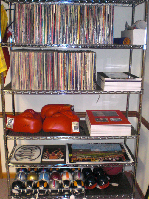 Record albums and football helmets